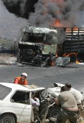 same wounded women and aids truk burning afp